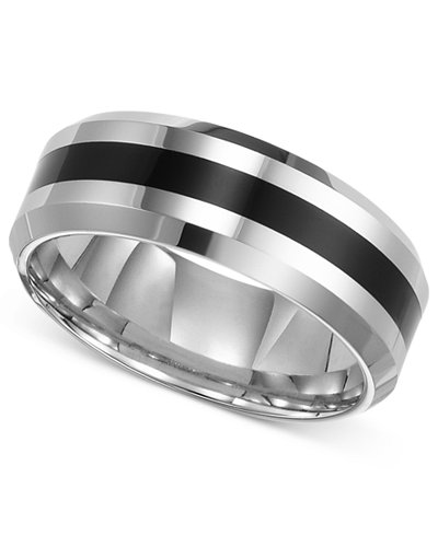 triton mens tungsten carbide ring comfort fit wedding band - Macy Wedding Rings