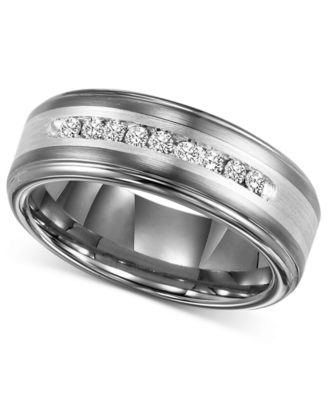 Tungsten mens wedding bands with black diamonds