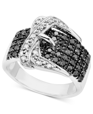 Black and White Diamond Buckle Ring in Sterling Silver (3/4 ct. t.w.)