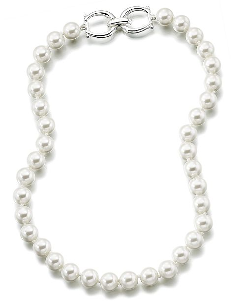 Lauren Ralph Lauren Silver-Tone Glass Pearl Strand Necklace