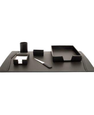 Bey-Berk Wood /& Black Leather 6Pc Desk Set