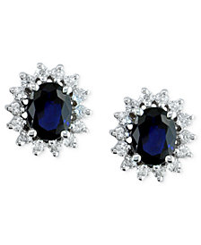 Royalty Inspired by EFFY Sapphire (2-7/8 ct .t.w.) and Diamond (3/4 ct. t.w.) Stud Earrings in 14k White Gold