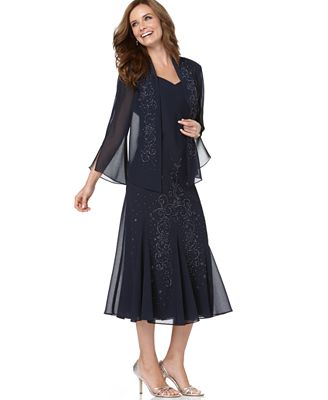 R&M Richards Sleeveless Beaded V-Neck Dress and Jacket - Dresses ...