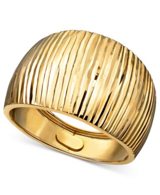 14k Gold Ring Diamond Cut Cigar Band Rings Jewelry Watches