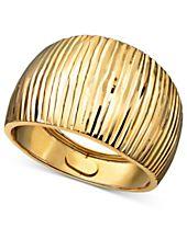 14k Gold Ring, Diamond Cut Cigar Band