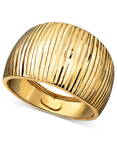 14k Gold Ring, Diamond Cut Cigar Band