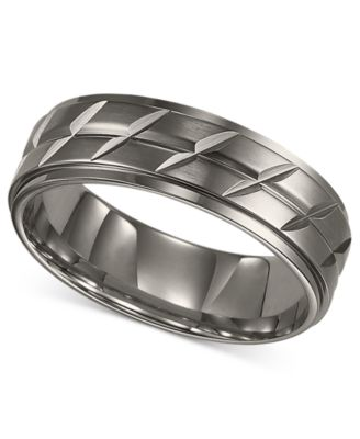 Triton Mens Titanium Ring Etched Wedding Band Rings Jewelry