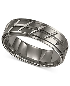 Men's Titanium Ring, Etched Wedding Band