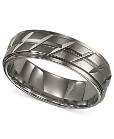 Triton Men's Titanium Ring, Etched Wedding Band