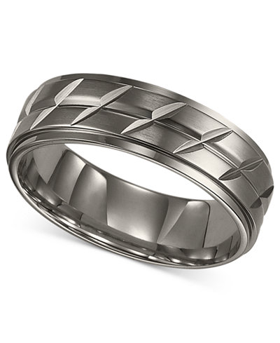 Triton Mens Titanium Ring Etched Wedding Band