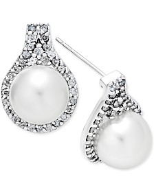 Cultured White South Sea Pearl (9mm) and Diamond (5/8 ct. t.w.) Drop Earrings in 14k White Gold