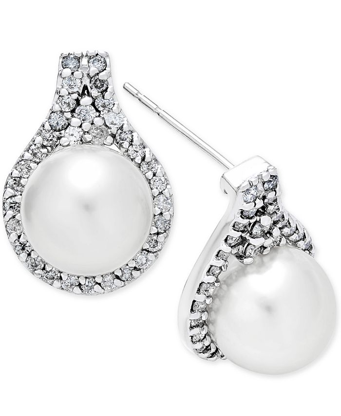 Macy's - Cultured White South Sea Pearl (9mm) and Diamond (5/8 ct. t.w.) Drop Earrings in 14k White Gold