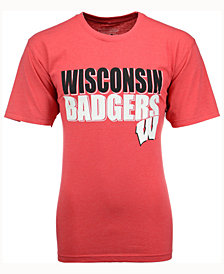 Colosseum Men's Wisconsin Badgers Wordmark Stack T-Shirt