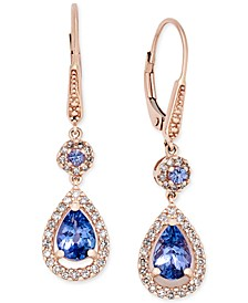 Tanzanite (1-5/8 ct. t.w.) and Diamond (1/3 ct. t.w.) Teardrop Halo Drop Earrings in 14k Rose Gold