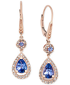 Tanzanite (1-1/3 ct. t.w.) and Diamond (1/3 ct. t.w.) Teardrop Halo Drop Earrings in 14k Rose Gold