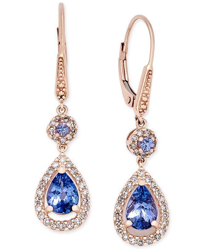 Macy's Tanzanite (1-5/8 ct. t.w.) and Diamond (1/3 ct. t.w.) Teardrop Halo Drop Earrings in 14k Rose Gold