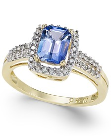 Tanzanite (3/4 ct. t.w.) and Diamond (1/5 ct. t.w.) Ring in 14k Gold