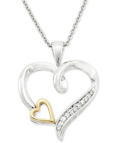 Diamond Accent Double Heart Pendant Necklace in Sterling Silver and 10k Gold