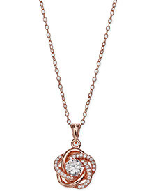 Giani Bernini Cubic Zirconia Love Knot Pendant Necklace in 18k Rose Gold-Plated Sterling Silver, Created for Macy's