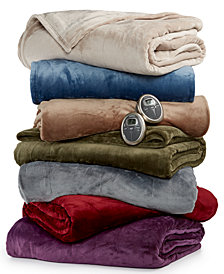 CLOSEOUT! Slumber Rest Velvet Plush Heated Blankets by Sunbeam