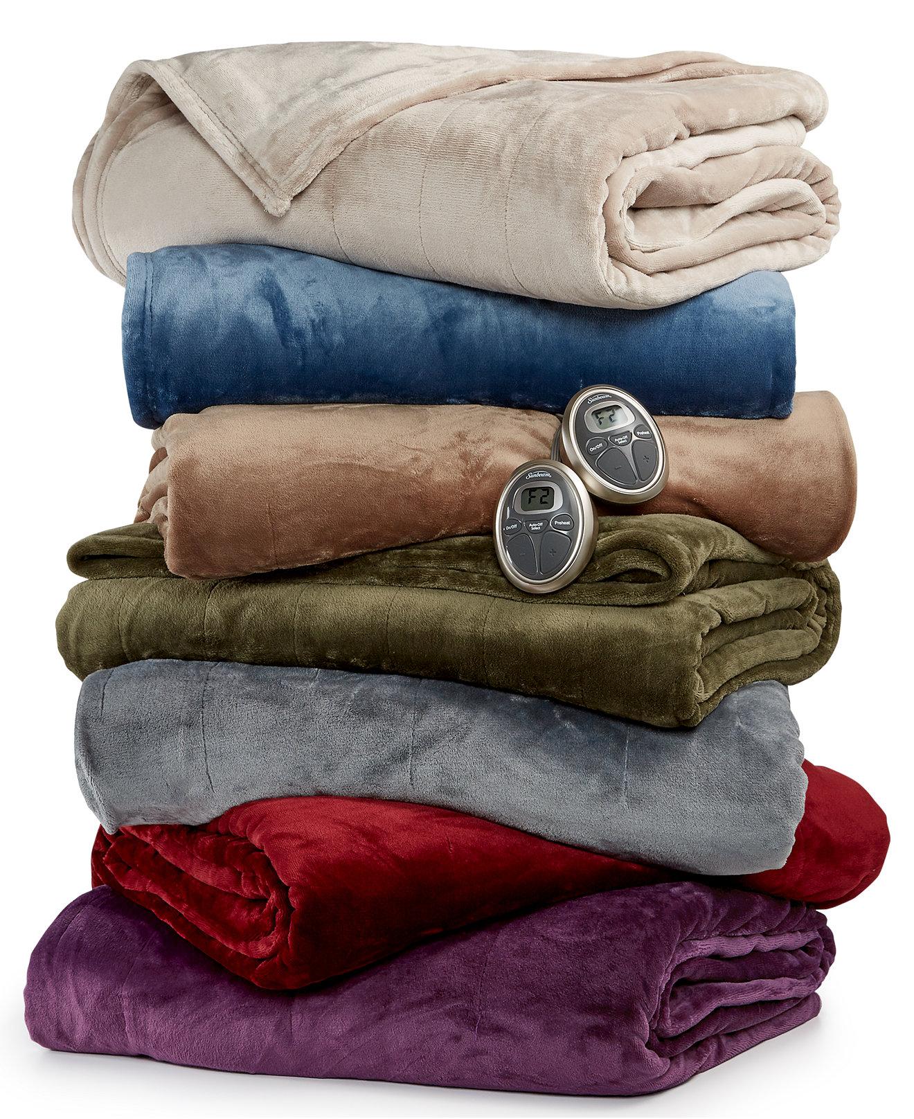 Slumber Rest Velvet Plush Heated Blankets By Sunbeam