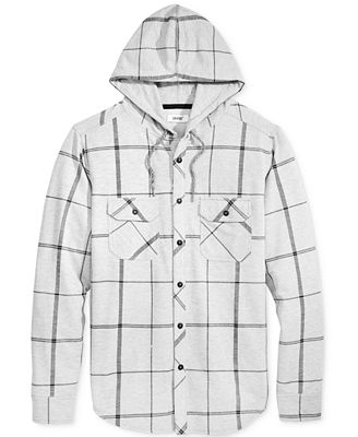 Univibe Men's Plaid Hooded Button Down Sweatshirt