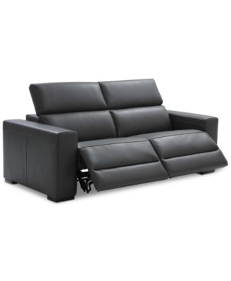 Furniture Nevio Leather & Fabric Power Reclining Sectional Sofa with ...