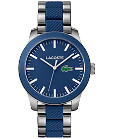 Lacoste Men's L.12.12 Stainless Steel and Blue Silicone Bracelet Watch 43mm 2010891