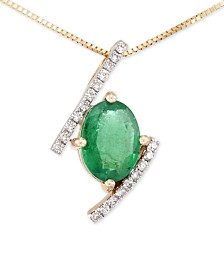 RARE Featuring GEMFIELDS Certified Emerald (1 ct. t.w.) and Diamond (1/10 ct. t.w.) Pendant Necklace in 14k Gold, Created for Macy's