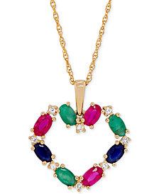 Multi-Gemstone Heart Pendant Necklace (2-5/8 ct. t.w.) in 14k Gold