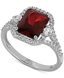 Lab-Created Ruby (3-1/10 ct. t.w.) and White Sapphire (3/8 ct. t.w.) Ring in Sterling Silver