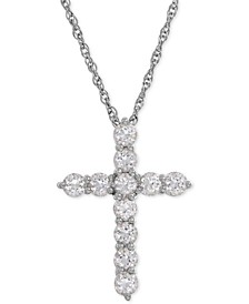 Lab-Created White Sapphire Cross Pendant Necklace (1-1/2 ct. t.w.) in Sterling Silver
