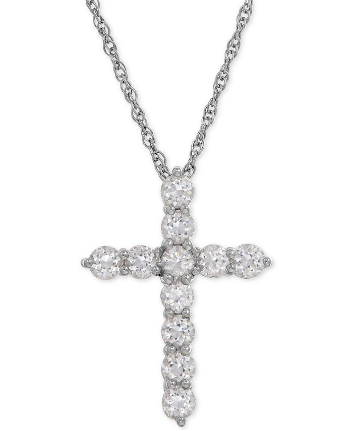 Macy's - Lab-Created White Sapphire Cross Pendant Necklace (1-1/2 ct. t.w.) in Sterling Silver