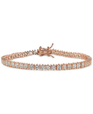 Image of Giani Bernini Cubic Zirconia Boxed Tennis Bracelet in 18k Rose Gold-Plated, 18k Gold-Plated Sterling