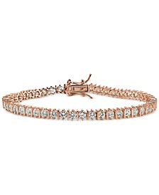 Cubic Zirconia Boxed Tennis Bracelet in 18k Rose Gold-Plated, 18k Yellow Gold-Plated Sterling Silver and Sterling Silver, Created for Macy's