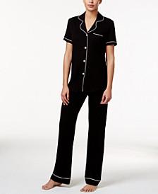Bella Satin-Trim Pajama Set AMORE9642, Online Only