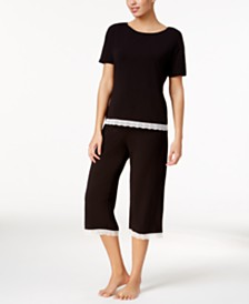 Cosabella Majestic Lace Trim Pajama Top & Capri Pants Sleep Separates, Online Only