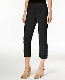 JM Collection Lattice-Hem Capri Pants, Created for Macy's