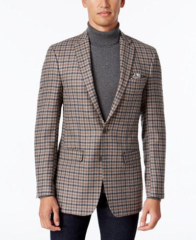 Tallia Men's Light Gray/Brown Check Sport Coat