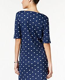 Karen Scott Petite Cotton Dot-Print Dress, Created for Macy's