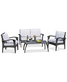 Stanway Outdoor Wicker 4-Pc Seating Set with Cushions, Quick Ship
