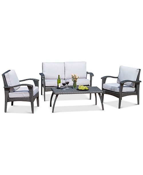 furniture stanway outdoor wicker 4 pc seating set with cushions