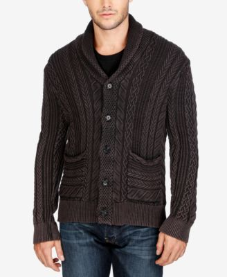Lucky Brand Mens Cable,Knit Shawl,Collar Cardigan