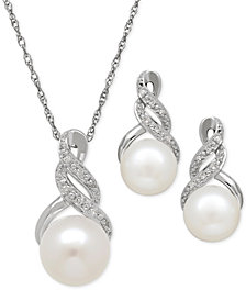 Cultured Freshwater Pearl (8 & 9mm) and Diamond Accent Pendant Necklace and Earrings Set in Sterling Silver