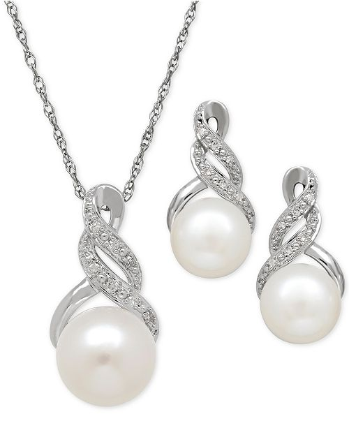 Macy's Cultured Freshwater Pearl (8 & 9mm) and Diamond Accent Pendant Necklace and Earrings Set in Sterling Silver