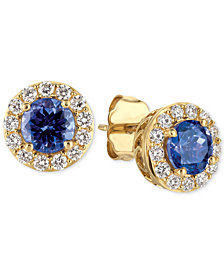 Le Vian® Tanzanite (1 ct. t.w.) and Diamond (1/3 ct. t.w.) Halo Stud Earrings in 14k Gold