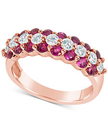 Certified Ruby (1-5/8 ct. t.w.) and Diamond (5/8 ct. t.w.) Ring in 14k Rose Gold