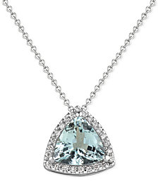 Aquamarine (1-1/2 ct. t.w.) and Diamond (1/8 ct. t.w.) Pendant Necklace in 14k White Gold