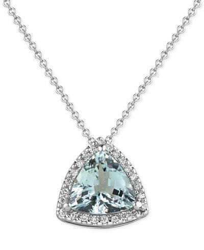Aquamarine (1-1/2 ct. t.w.) and Diamond (1/8 ct. t.w.) Pendant Necklace in 14k White Gold