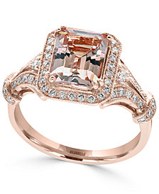 EFFY® Morganite (2-1/5 ct. t.w.) and Diamond (1/3 ct. t.w.) Ring in 14k Rose Gold